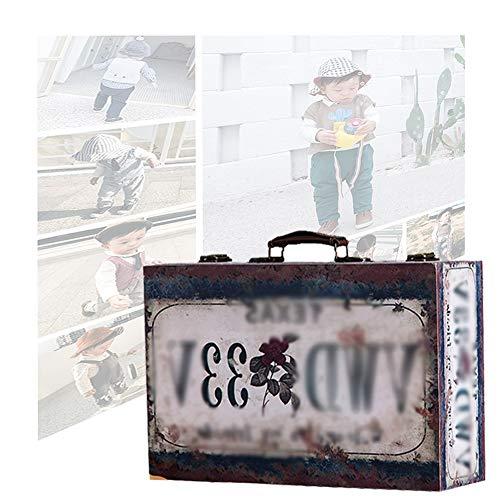 Cofres Maleta Vintage, Tesoro, Caja De Madera con Cerradura De Metal Portátil A La Antigua, Decoración De Accesorios De Foto De Ventana Creativa De Viaje, 4 Tamaños GGYMEI (Color : D-46X31X14CM)