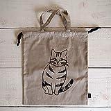 m.m 松尾ミユキ Reversible drawstring bag L リバーシブル巾着バッグL (Stripe&Food)