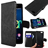 ebestStar - Coque Wiko Fever 4G Etui PU Cuir Housse Portefeuille Porte-Cartes Support Stand, Noir [Appareil: 148 x 73.8 x 8.3mm,...