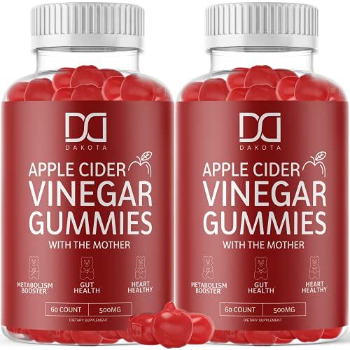 Organic Apple Cider Vinegar Gummies ACV Supplement for Weight Loss with Beet Root Powder, Vitamin B12 Folate VIT B6 Folic Acid Gummy Alternative to Apple Cider Vinegar Capsules Pills Tablets (2 Pack)