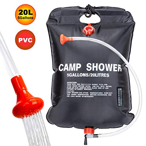 FeChiX VIGLT Portable Shower Bag for Camp Shower 20L/5 Gallons Solar Shower Camping Shower Bag with Removable Hose and On-Off Switchable Shower Head for Outdoor Camping Traveling