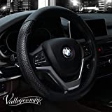 Valleycomfy Steering Wheel Cover with Microfiber Leather for Car Truck SUV 15 inch (Black)