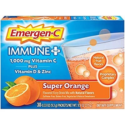 Emergen-C Immune+ Vitamin C 1000mg Powder, Plus Vitamin D And Zinc (30 Count, Super Orange Flavor, 1 Month Supply), Immune Support Dietary Supplement Fizzy Drink Mix, Antioxidants & Electrolytes