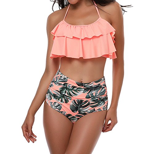 TEERFU Bikini Sets Damen Ruffles Sexy Bademode Push up Flounce Bikinis Badeanzug Zweiteiler Strand Swimwear Swimsuits Beachwear