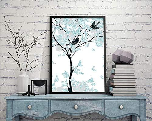 Abstracte vogel boom decoratie schilderij foto vliegen op de tak muur canvas schilderij 60X80cm (frameloze)