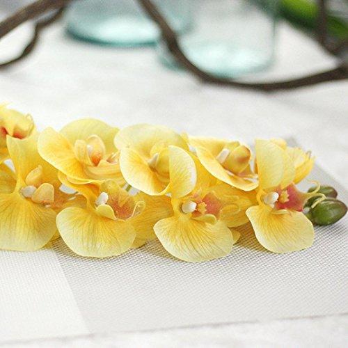 HCFKJ Simulation Schmetterling Orchidee Phalaenopsis Zweig Hausgarten DIY Dekor Zimmerpflanze (One Size, Gelb)
