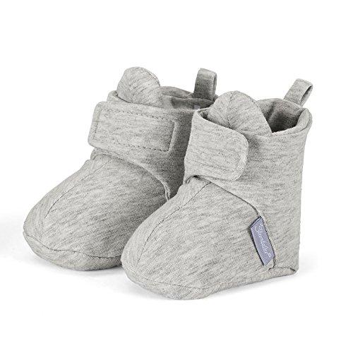 Sterntaler Unisex Baby Krabbel- und Hausschuh mit Klettverschluss, Alter: 12-18 Monate, Größe: 20, Farbe: Grau (Silber), Art.-Nr.: 5101600