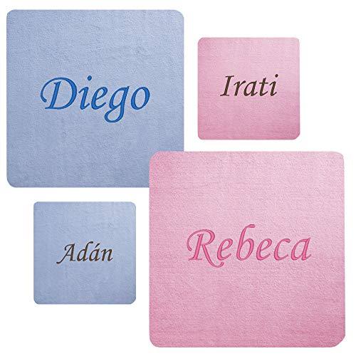 Personalisierter Decke Baby Wolken mit Namen für Auto und Kinderbett,–80x 110cm–GRAU, BLAU ODER PINK.