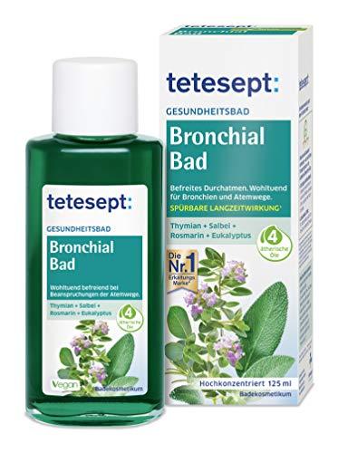 tetesept Bronchial Bad – Gesundheitsbad mit 4 natürlichen ätherischen Ölen – Wohltuender Badezusatz für Bronchien und Atemwege – 1 x 125 ml
