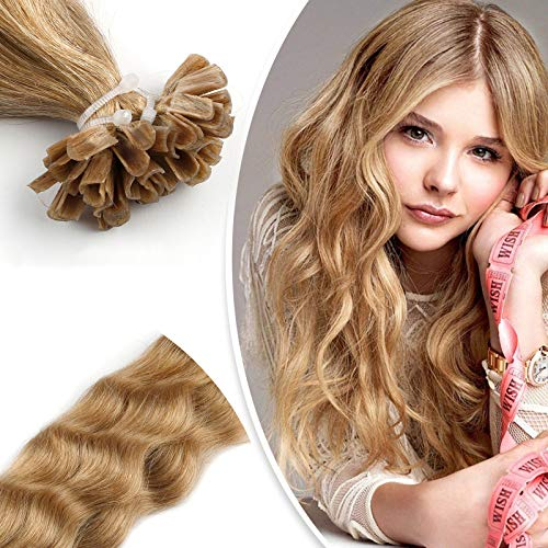 "Neitsi 20"" 25s/lot 1g/s 100% Remy Human Hair Nail Ash Blonde U Tip Hair Extension Natural Wave (18#)"