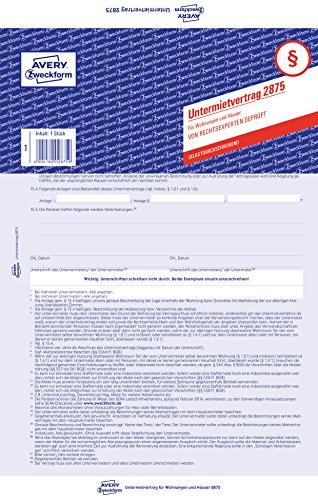 Avery Zweckform 2875 Untermietvertrag (für Wohnungen und Häuser, A4, selbstdurchschreibend) 1 Stück, blau