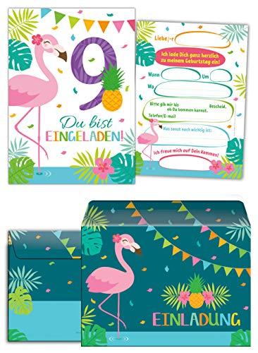 Junaversum 12 Einladungskarten incl. 12 Umschläge zum 9. Geburtstag Kinder neunte Kindergeburtstag Mädchen Flamingo