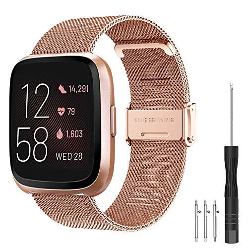Compatibile con Fitbit Versa 2 Cinturino/Fitbit Versa Cinturino, Metallo Cinturino in Acciaio Inossidabile Cinghia Bracciale per Fitbit Versa/Versa 2/Versa Lite