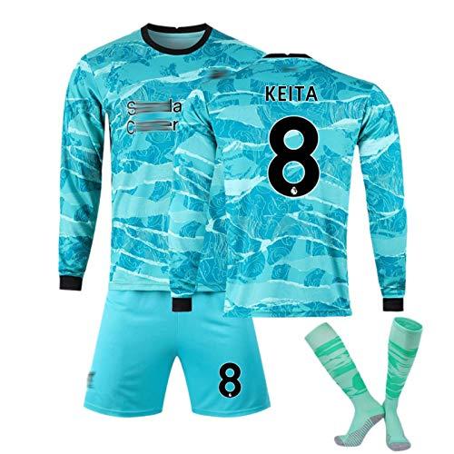 CFJJH Männer Fußball Sportwear Lange Ärmelanzüge Liverpool Trikots, 11 Salah # 6 Thiago # 8 Keïta # 14 Henderson Trikot, Fußball Trainingsanzüge Training Hemd, Spielanzü #8-S