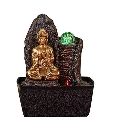 Zen Light - Fontaine d'Intérieur Bouddha Haka - Cadeau Décoration Feng Shui - Mur d'eau Bouddha - Eclairages LED Multicolores - L 20 x l 15 x H 25 cm Marron Taille Unique