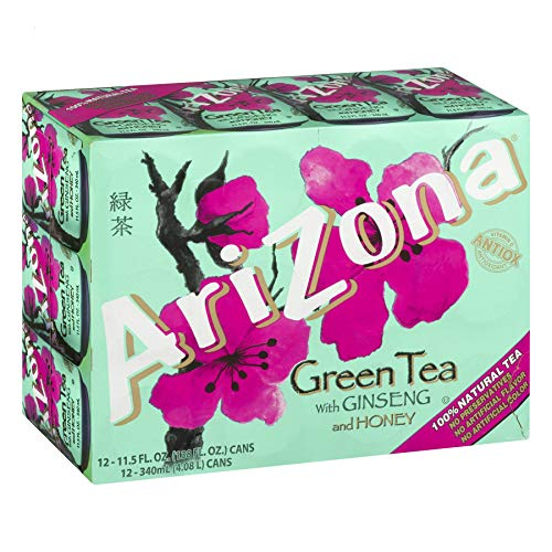 AriZona Green Tea With Ginseng And Honey - 12 PK, 11.5 OZ Can (Pack of 2, Total of 24 Cans)