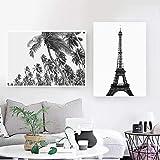 Tropical Paisaje Poster Impresiones Negro Blanco Minimalista Pared Arte Playa Palma Árbol Lienzo Pintura Moderno Salon Habitación Cuadros Decoracion 40x60cmx2 No Enmarcado