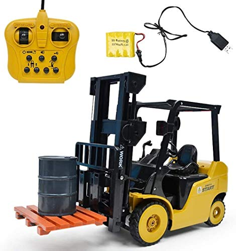 ZCX Remote Control Forklift Engineering Vehicle 1:8 Ratio LED Lights Simulation Engineering Vehicle Chargeable Toy Car Model Remote Control Engineering Vehicle