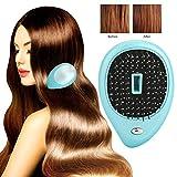 Cepillo de pelo iónico eléctrico portátil, peine mini cepillo de pelo, cepillo de pelo masajeador eléctrico, cepillo de masaje vibrante peine (Azul)