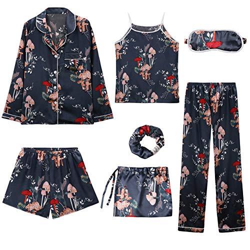 Rojeam Pijamas de satén de Seda para Mujer Ropa de Dormir de Manga Larga 7 Piezas Conjunto de Pijama Loungewear(Seta,L)