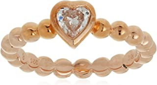 Esprit Women Ring pellet heart rose 925 Sterling Silver Gold Plated 1 Zirconia Stone
