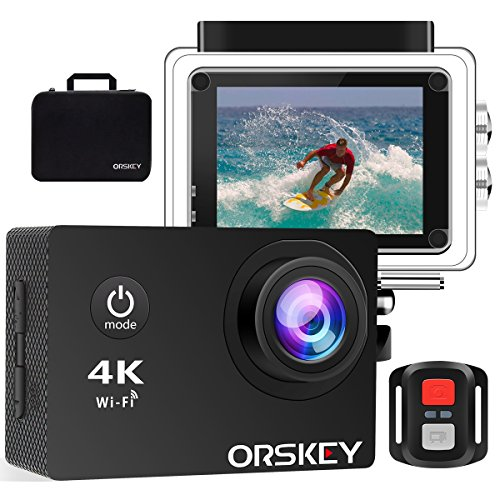 ORSKEY cámara de acción 4K 16 MP WiFi cámara submarina Sony Sensor Ultra HD Impermeable cámara Deportiva con Mando a Distancia 170 ° Gran ángulo portátil Bolsa de Viaje y Kit de Accesorios de Montaje