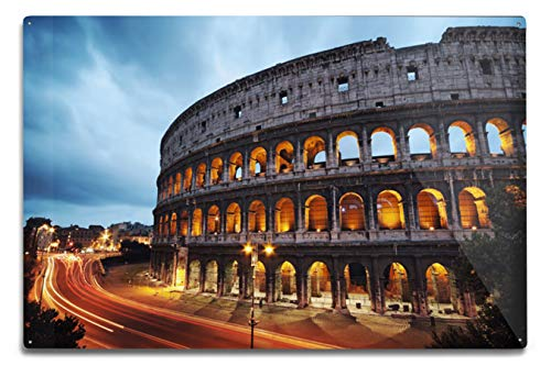Lantern Press Coliseum at Dusk in Rome, Italy A-91428 91428 (6x9 Aluminum Wall Sign, Wall Decor Ready to Hang)