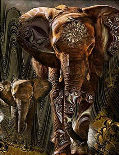 Diy 5D Diamond Painting Full Drill Grand Kits de perforación Redondos Diamante Pintura Elefantes africanos por Número completos Rhinestone Art Wall decoración Cuadro Puzzle Taladro cuadrado80x100cm