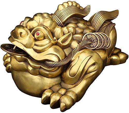 XBR Escultura Decoración Latón Feng Shui Dinero Estatuas de Rana Decoración Sapo Chino de la Suerte con Moneda Tres Patas Riqueza Tradicional Rana Dinero Sapo Esculturas Artesanía