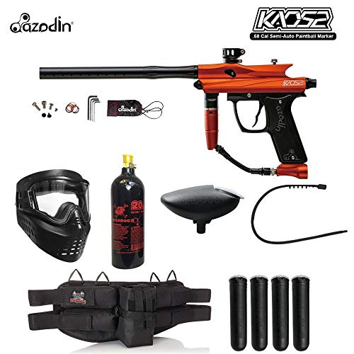 Maddog Azodin KAOS 2 Silver Paintball Gun Package - Orange/Black