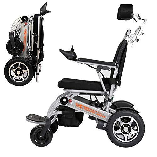RDJM Ultraleichter Faltbarer Elektrischer Rollstuhl, Elektro-Rollstuhl mit Kopfstütze und Li-Ion Battery 20Ah, für ältere und behinderte Menschen