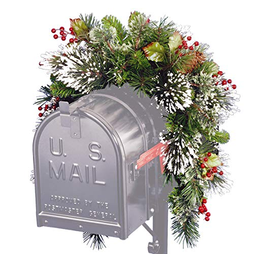 National Tree Company Pre-lit Artificial Christmas Mail Box Swag | Flocked with Mixed Decorations | Wintry Pine Collection - 36 Inch