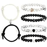Magnetic Couple Bracelet Mutual Attaction Matching Rope Beaded Bracelet Set for Men Women Long Distance Relationships Couple Bracelet for His and Her Friendship Adjustable