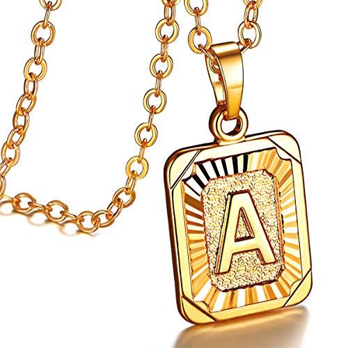 FOCALOOK 18k vergoldet Anhänger Halskette für Damen Mädchen Rechteck Tag Buchstabe A mit 50+5cm Rolokette Initiale Modeschmuck tolles Geschenk für Geburtstag
