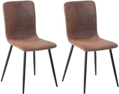 MEUBLE COSY Lot de 2 Chaises de Salle à Manger de Style scandinave avec un Revêtement en Tissus microfibre Vintage, Pieds métal Noirs