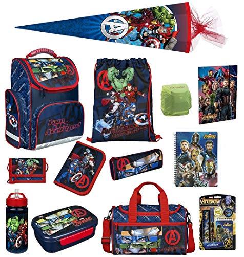 Familando Avengers Schulranzen-Set 18tlg. mit Dose/Flasche Sporttasche Federmappe Schultüte 85cm und Regenschutz Hulk Thor