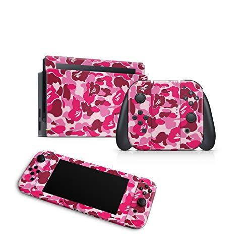 46 North Design Switch Skin für Konsole und JoyCons, gleiche Abziehbildqualität für Autos, rosafarbene Pastelltarnung War Army Fuchsia, hohe Qualität, langlebig, blasenfrei, hergestellt in Kanada