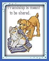 刺繡スターターキット刻印クロスステッチキット友情は、簡単で面白いプレプリントパターン16x20インチのDIY11CT刺繡で共有されます