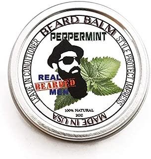 REAL BEARDED MEN 100% Natural Premium Beard Balm 2 oz - Peppermint - Made in USA
