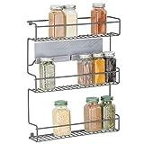 mDesign Estantería metálica – Especieros de cocina autoadhesivos con 3 niveles para montaje en pared – Ideal como...