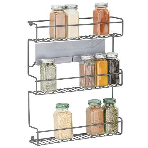 mDesign Estantería metálica – Especieros de cocina autoadhesivos con 3 niveles para montaje en pared – Ideal como organizador de especias para la cocina y la despensa – gris oscuro