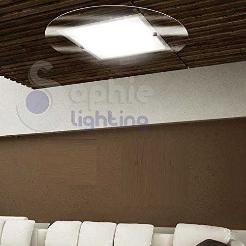 Plafonnier grand plafonnier rond Ø80 cm design moderne verre satiné blanc transparent chrome salon cuisine ROUND PL80 SOPHIE LIGHTING