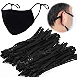 100PCS Black Elastic Cord String for Masks with Adjustable Buckle Cord Lock TOOVREN Soft Elastic Bands for Sewing Stretchy Straps Rope with Stoppers Clip Thread Earmuff Earloops for Adult Kids
