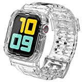 AHASTYLE iWatch Band Strap Crystal with Rugged Bumper Protective Case Compatible with Apple Watch 38mm 42mm 40mm 44mm, iWatch Series 5/4/3/2/1 (42/44, Crystal Clear)