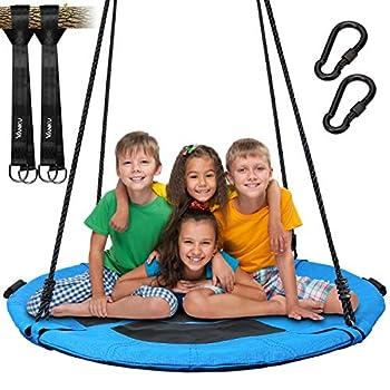 Vanku Balançoire nid d'ange pour enfants et adultes - 300 kg - Pour jardin extérieur - Avec assise de 115 cm de diamètre et 2 balançoires de 600 kg - Sangles bleues