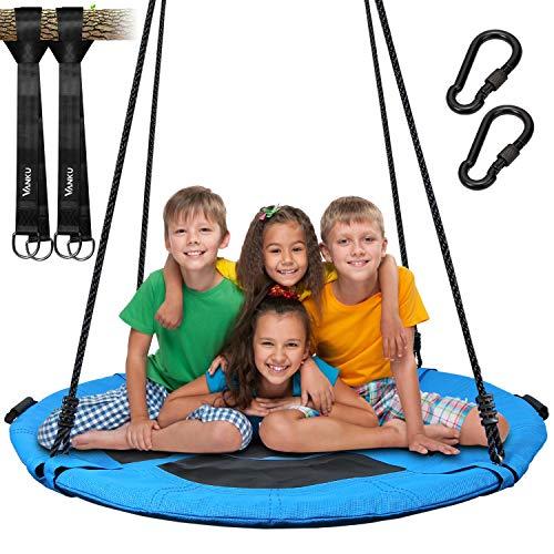 Vanku 300KG Nestschaukel für Kinder Erwachsene Outdoor Garten mit 115cm Sitzflächendurchmesser und 2 600KG belastbaren Schaukel Gurte Blau