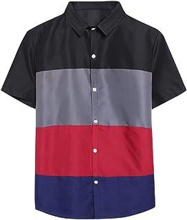 POQOQ Blouse Men Casual Fashion Short Sleeve Thin Lapel Pure Color Shirt Top