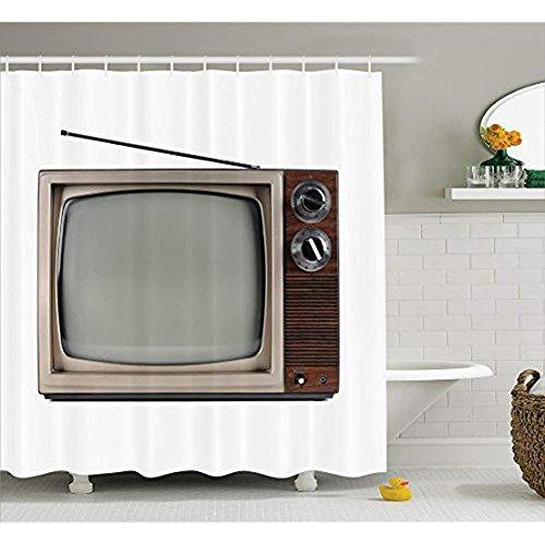 Yeuss 1950s Decor Collection,Altes Fernsehgerät mit Antennen-Broadcast-Bildschirm,Antikes Fernsehbild,Duschvorhang aus Polyestergewebe,Set mit Haken,Braun-Beige