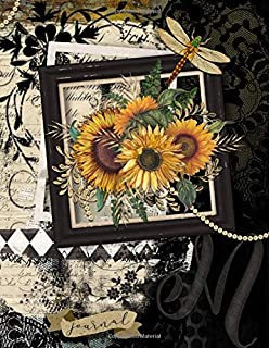 M Journal: Vintage Sunflower Initial M Monogram Notebook : Journal Style Blank Lined Paper Decorated Interior : Large
