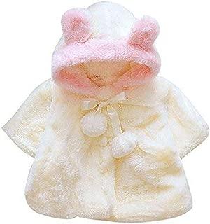 Digood 0-36 Months Baby Girls Kids,Winter Fashion Flowers Fur Ball Warm Thicken Lace-up Coat Cloak Jacket